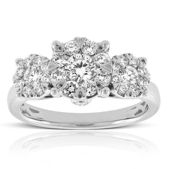 Three Stone Love Eternal Engagement / Anniversary Ring 14K