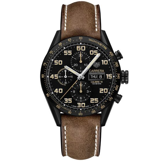 TAG Heuer Carrera Calibre 16 Day Date Automatic Mens Black Leather Chronograph Watch