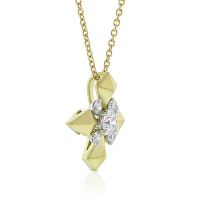 Jade Trau for Signature Forevermark Diamond Cluster Shield Necklace 18K