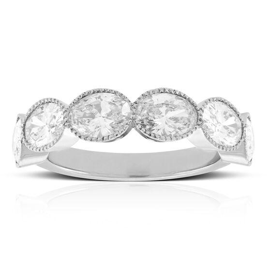 Bezel Set Oval Diamond Ring Band 18K