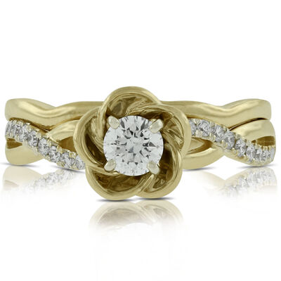 Flower Design Diamond Bridal Set 14K