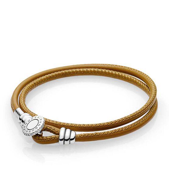 PANDORA Tan Double Leather CZ Bracelet