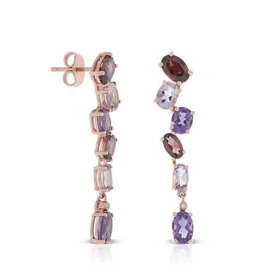 Rose Gold Oval Amethyst, Garnet & Diamond Earrings 14K
