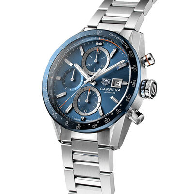 TAG Heuer Carrera Calibre 16 Blue Steel Chronograph Watch, 41mm