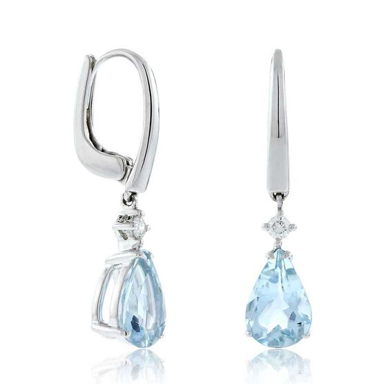 Aquamarine & Diamond Drop Earrings 14K