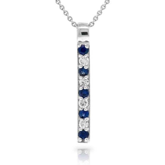 Sapphire & Diamond Stick Pendant 14K