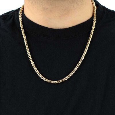Toscano Round Brick Link Necklace 14K, 24""