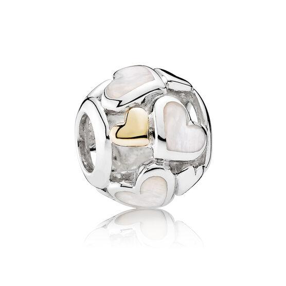 PANDORA Luminous Hearts Charm, Silver & 14K