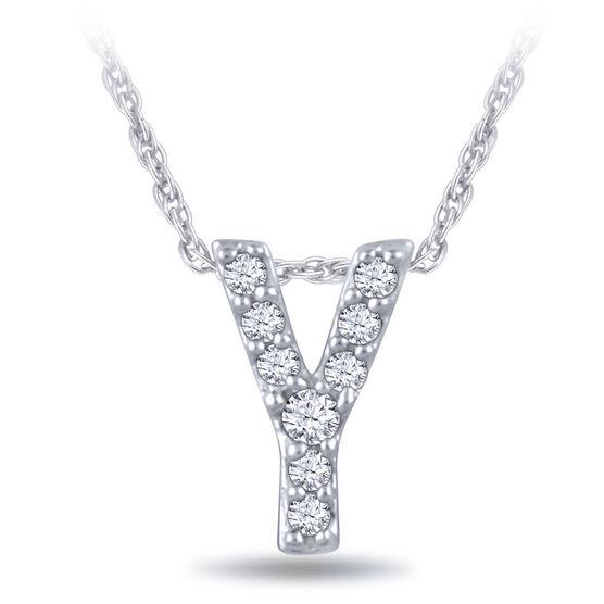 Diamond Initial Pendant 14K Letter 'Y'