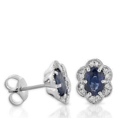 Sapphire & Diamond Flower Earrings 14k