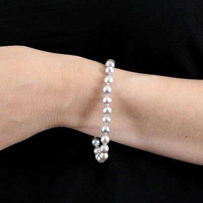 Gray Cultured Akoya Pearl Bracelet in Silver