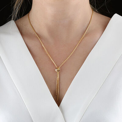 Wheat Chain Tassel Bolo Look Necklace 14K