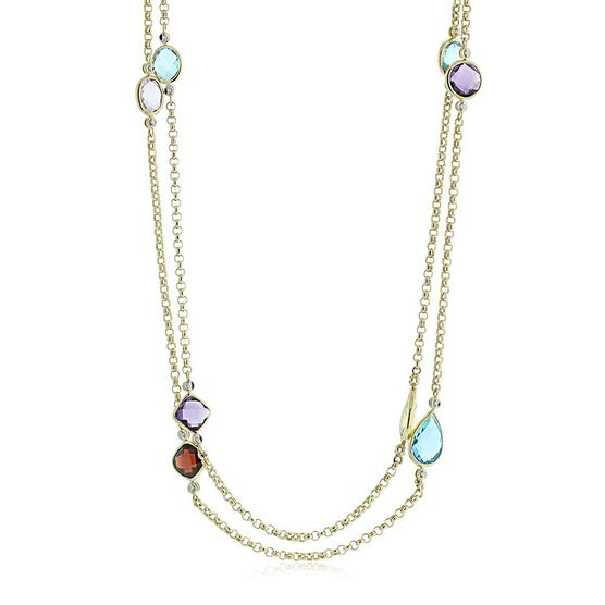 Multiple Gemstone & Diamond Station Necklace 14K, 36""