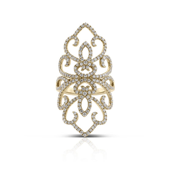 Long Floral Lace Diamond Ring 14K, 1.5 ctw.
