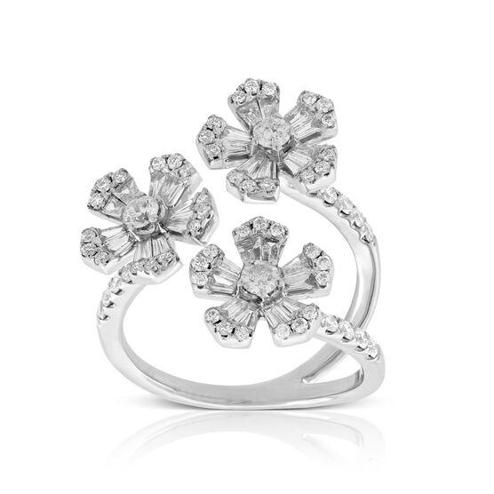Triple Flower Diamond Ring 14K