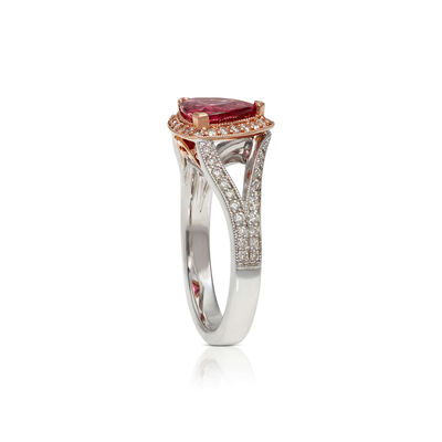 Rose Gold Trillion Pink Spinel & Diamond Two-Tone Ring 14K