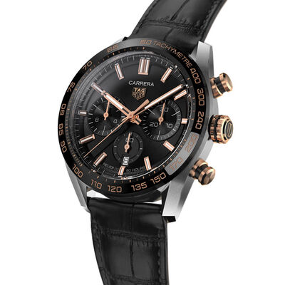 TAG Heuer Carrera Heuer 02 Automatic Mens Black Leather Chronograph Watch