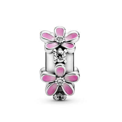 Pandora Pink Daisy Flower Enamel & CZ Clip Charm