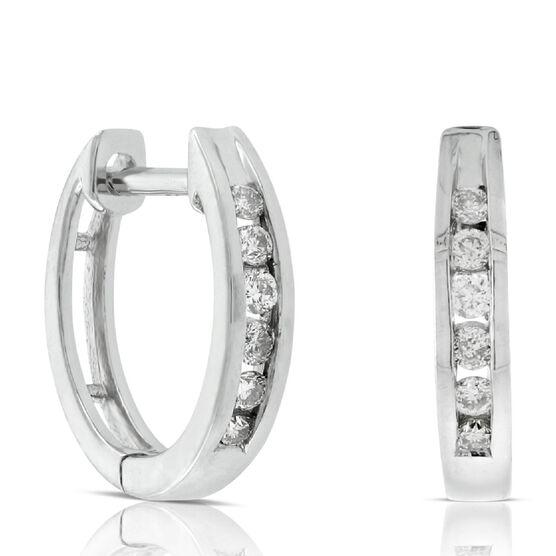 Diamond Hoop Earrings 14K, 1/10 ctw.