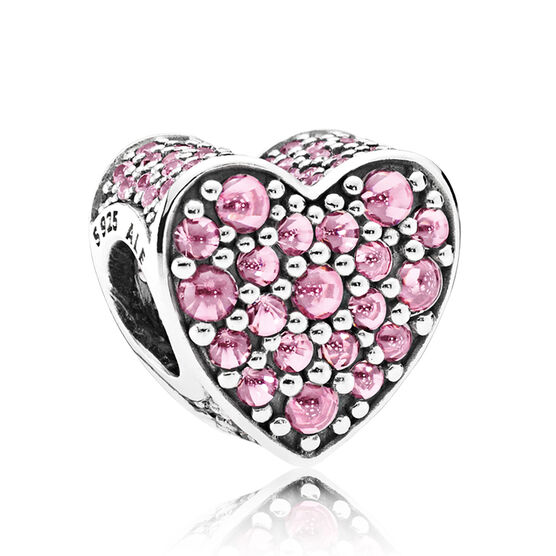 PANDORA Pink Dazzling Heart CZ Charm