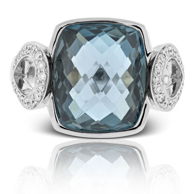 Cushion Topaz & Diamond Ring 14K