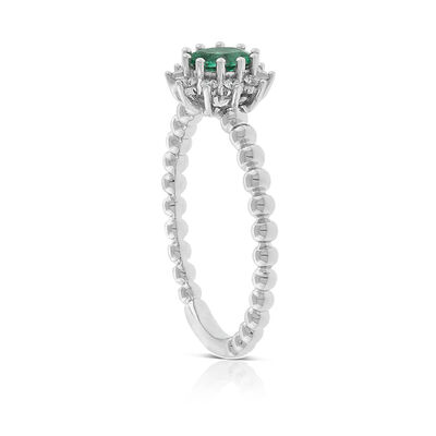 Oval Emerald & Diamond Halo Ring 14K