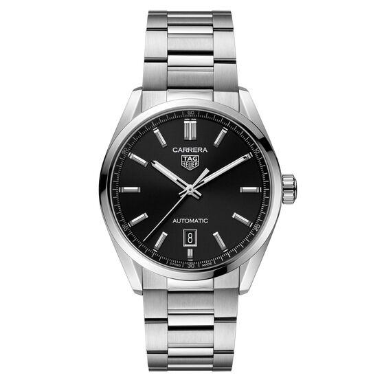 TAG Heuer Carrera Calibre 5 Auto Black Steel Watch, 39mm