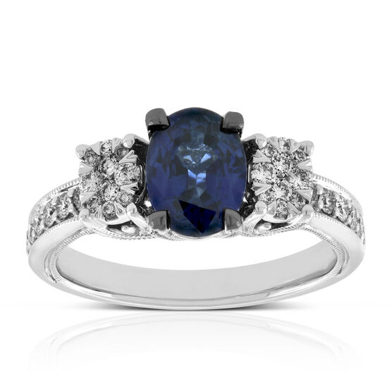 Oval Sapphire & Diamond Ring 14K