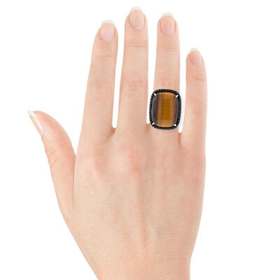 Lisa Bridge Tiger's Eye & Black Sapphire Ring