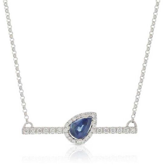 Slanted Pear-Shaped Sapphire & Diamond Bar Necklace 14K
