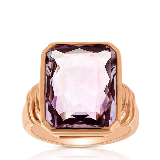 Rose Gold Octagonal Amethyst Ring 14K