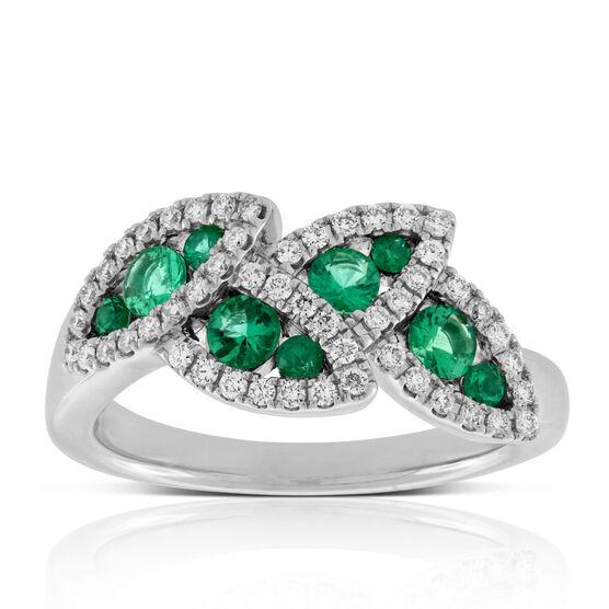 Emerald & Diamond Halo Leaf Ring 14K