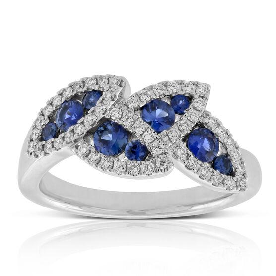 Sapphire & Diamond Halo Leaf Ring 14K