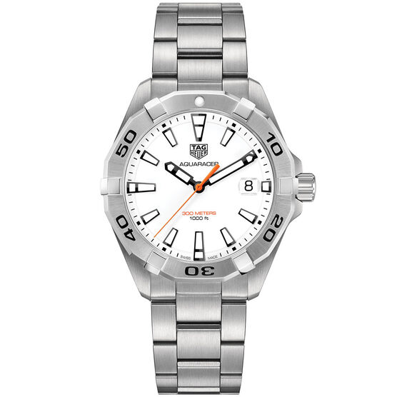TAG Heuer Aquaracer Quartz Mens White Steel Watch