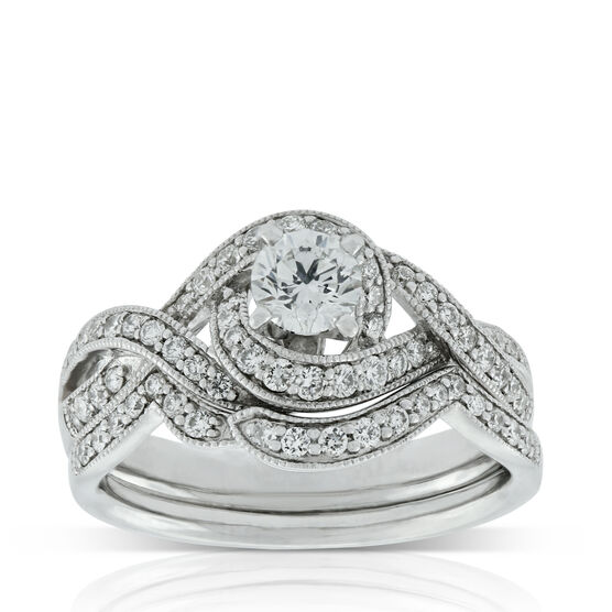 Crossover Diamond Wedding Set 14K