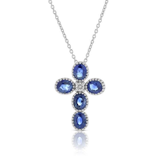 Beaded Sapphire & Diamond Cross Necklace 14K