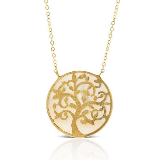Mother of Pearl Tree of Life Necklace 14K