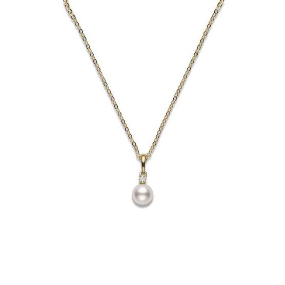 Mikimoto Akoya Cultured Pearl & Diamond Necklace 18K