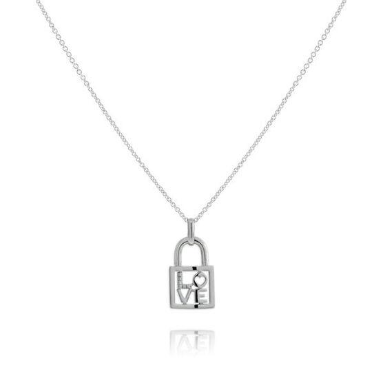 Diamond 'Love' Lock Pendant in Sterling Silver