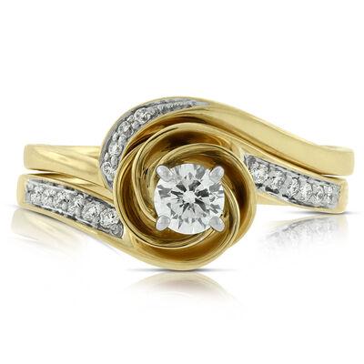 Swirl Diamond Bridal Set 14K