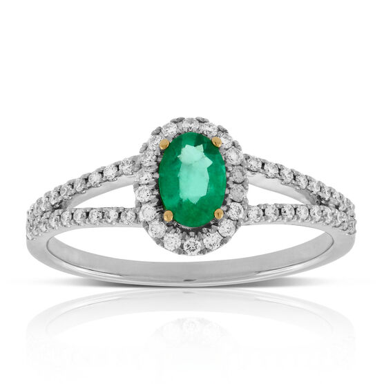 Emerald & Diamond Split Shank Ring 14K