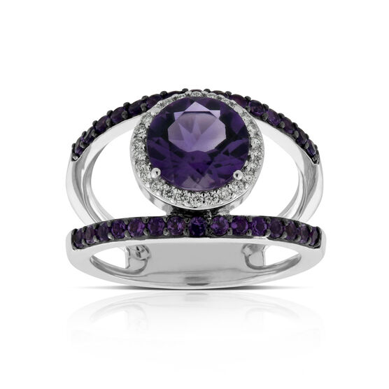 Amethyst & Diamond Ring 14K
