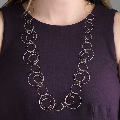 Toscano Tri-Color Circle Mobile Necklace 14K, 32""