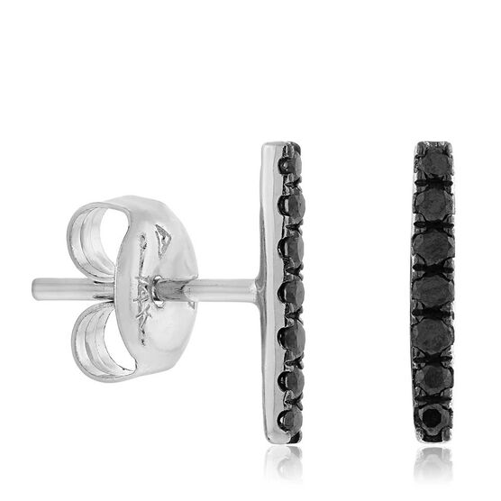 Black Diamond Bar Stud Earrings 14K