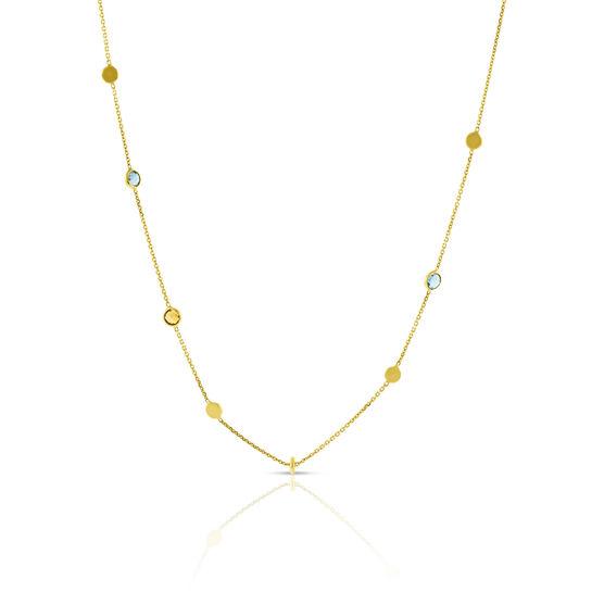 Toscano Alternating Citrine & Blue Topaz Bead Necklace 14K