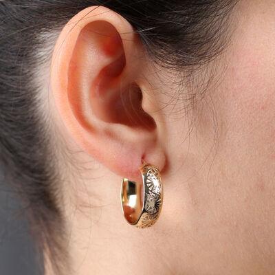Toscano Laser Cut Hoop Earrings 14K