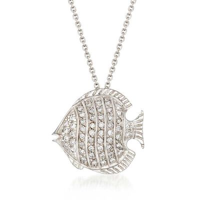 Roberto Coin Tiny Treasures Diamond Fish Necklace 18K