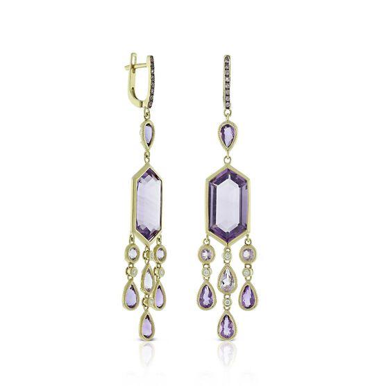 Amethyst, Pink Sapphire & Diamond Earrings 14K