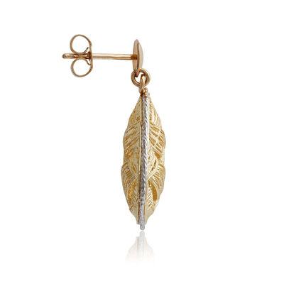 Toscano Two-Tone Woven Domed Pear Drop Earrings 14K