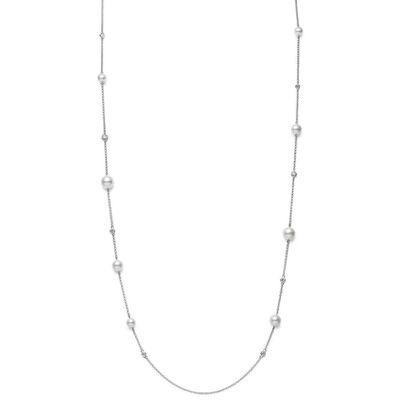 "Mikimoto Akoya Cultured Pearl & Diamond Station Necklace 18K, 31"""